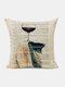 Animal Head Wine Glass Pattern Linen Cushion Cover Home Sofa Art Decor Throw Pillowcase - #14