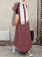 Bohenmia Print A-line Long Sleeve Casual Plus Size Dress - Wine Red