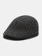 Men Ear Protection Keep Warm Plain Color Casual Forward Hat Beret Hat Flat Cap - Gray