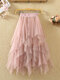 Solid Color Layered Mesh High Waist Puffy A-Line Midi Tulle Skirt - Pink
