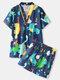 Plus Size Women Cotton Cartoon Dinosaur Print V-Neck Short Sleeve Sauna Clothes - Blue