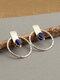 Vintage Double-Sided Combination Dual-Use Earrings Hammer Jacket Earrings Lapis Ear Stud - Silver