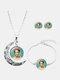 3 Pcs Printed Men Women Jewelry Set Wearing Garland Hollow Half Moon Necklace Bracelet Earring - #01