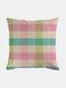Classic Plaid Pattern Linen Cushion Cover Home Sofa Art Decor Throw Pillowcase - #06