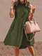 Solid Color Ruffled Collar Sleeveless Casual Pleated Dress - Army Green