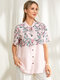 Newchic x Olga Diatlova Floral Print Buttons Short Sleeves Casual Shirt for Women - Pink