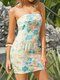 Holiday Floral Print Strapless Backless Mini Sexy Bohemian Dress - Multicolor