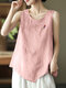 Solid Frog Sleeveless O-neck Women Vintage Tank Top - Pink