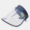 COLLROWN Transparent Screen Sun Hat Empty Top Hat Big Brim Cover Face Hat - Navy