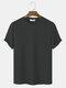Mens Plain Texture Knitted Waffle Short Sleeve T-Shirt - Dark Gray