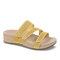 Plus Size Women Rhinestone Opened Toe Hook Loop Platform Casual Slide Sandals - Yellow