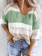 Contrast Color Hollow 3/4 Sleeve V-neck Casual Sweater For Women - Green