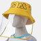 Detachable Face Screen Children's Sun Hat Windshield Fisherman Hat - Yellow