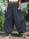 Solid Color Elastic Waist Loose Pants For Women - Gray