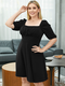 Solid Square Collar Half Sleeve Plus Size Casual Dress - Black