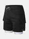 2 in 1 Camo Mesh Breathable Gym Running Shorts Compression Liner Swim Trunks With Zipper Pocket - Black