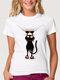 T-shirt à col ras du cou décontracté et imprimé chat