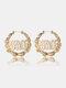 Trendy Letter Pattern Earrings Temperament Metal Bamboo Circle Earrings - Gold