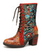 SOCOFY Embossed Genuine Leather Floral Embroidery Splicing Warm Lining Comfy Chunky Heel Short Boots - Red
