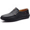 Men Hand Stitching Genuine Leather Hole Non-slip Slip On Casual Shoes - Black