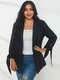女性のための無地ラペル長袖結び目Plusサイズのジャケット - ブラック