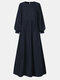 Women Ethnic Solid Color Puff Long Sleeve O-neck Dress - Navy