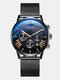 Business Men Watch Luminous Date Display Metal Mesh Belt Quartz Watch - Rose Gold Dial Black Band