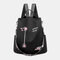 Women Oxford Embroidery Waterproof Ethnic Anti-theft Backpack - Black