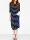 Asymmetrical Striped V-neck Plus Size Dress - Blue