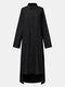Women Solid Color Button Pocket Lapel Collar High-low Hem Long Sleeve Shirt Dress - Black