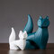 Nordic White Blue Ceramic Figurines Home Decoration Crafts Livingroom Desktop Animal Ornaments  - #6