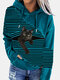 Black Cat Print Patchwork Striped Long Sleeve Plus Size Hooded T-shirt - Blue