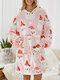 Women Christmas Snowman Print Sherpa Oversized Blanket Hoodie Thickened Double Plush Robe With Front Large Pocket - Pink