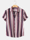 Mens Casual Striped Print Patch Pocket Short Sleeve Shirts - As Picture