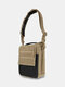 Canvas Outdoor Two Tone ZIP Front Multifunction Tactical 11 Inch Crossbody Bag - Khaki
