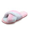 Women Rainbow Colors Cross Band Soft Plush Furry Comfy Breathable Home Slippers - Colorful