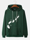 Mens Cartoon Ghost Print Funny Drawstring Hoodies With Pouch Pocket - Green
