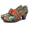 SOCOFY Vintage Paisley Splicing Leather Adjustable Buckle Straps Slip on Chunky Heel Pumps - Green