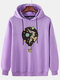 Mens Hot Air Balloon Graphic Print Cotton Relaxed Fit Drawstring Pullover Hoodies - Purple