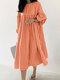 Plaid Print Pleated Puff Sleeve Casual Dress for Women - Orange