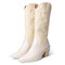 Embroidered Pointed Toe Chunky Heel Slip-on Western Cowboy Boots for Women - Beige
