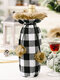 1 قطعة الكريات عيد الميلاد منقوشة كيس زجاجة النبيذ النبيذ الأحمر الشمبانيا زينة الجدول عيد الميلاد - أسود