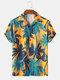 Mens Coconut Tree Print Hawaii Holiday Short Sleeve Shirts - Yellow