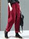 Solid Color Side Pockets Elastic Waist Corduroy Pants - Red
