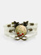 Vintage Red Floral Dog's Tail Grass Pattern Print Butterfly Braided Gemstone Multi-layer Bracelet - White