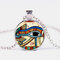 Eye Of Horus Gem Pendant Necklace Adjustable Metal Chain Round Glass Women Necklace Jewelry Gifts - Silver