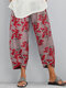 Flowers Print Elastic Waist Plus Size Casual Pants - Grey