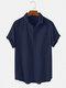 メンズ綿100%無地ライト通気性カジュアルヘンリーシャツ - ネービー