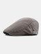 Men Cotton Patchwork Color Forward Hat Beret Hat Flat Cap - Coffee