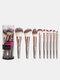 9 Pcs Makeup Brushes Set Beginners Eye Shadow Blush Concealer Makeup Tools With Brush Box - Champagne